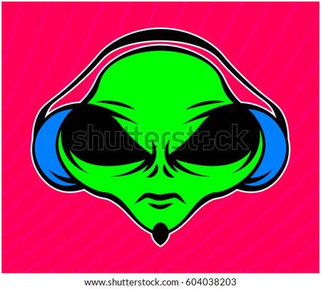 alien in headphones on a bright