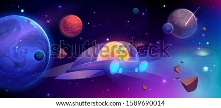 Alien in spaceship flying in cosmos between planets. Vector cartoon futuristic illustration of ufo rocket in outer space, galaxy with stars and alien saucer