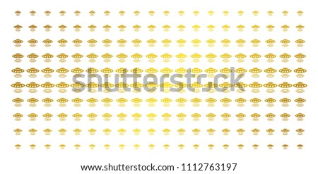 Alien invasion icon golden halftone pattern. Vector alien invasion objects are organized into halftone grid with inclined golden gradient. Designed for backgrounds, covers,