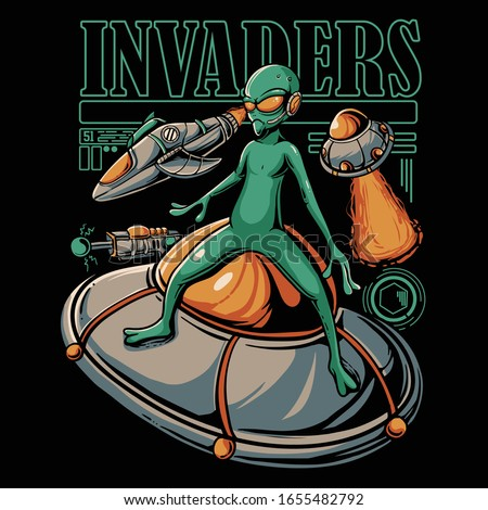 Alien invasion illustration. Ufo and spaceship attacks. Aliens stand on ufo. Vector cartoon style for t-shirt design, stickers, web, or poster