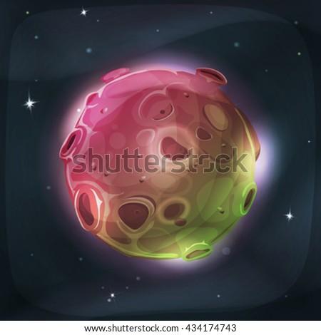 alien moon planet on space