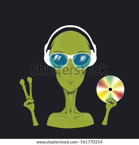 alien music fun hand drawn