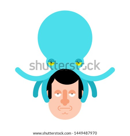 Alien Octopus on head. Mind control. Monster Aliens Management of human consciousness