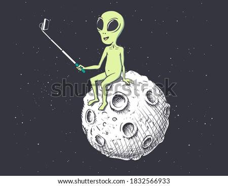 Alien photographs himself on Moon.Vector illustration Stock photo ©