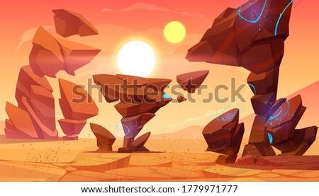alien planet desert in cosmos