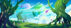 Alien planet landscape, fantastic habitable world vector cartoon background. Fairy tale trees and butterflies, sky and globes, animals, plants. Glowing miracle tree, bubbles in air, ui game backdrop
