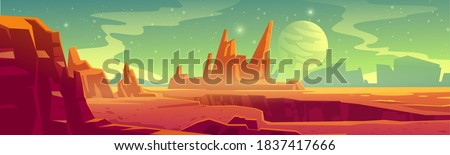 Alien planet landscape for space game background. Vector cartoon fantasy illustration of cosmos and Mars surface with red desert and rocks, satellite and stars in sky