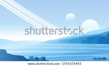 alien planet landscape vector