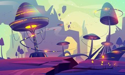 Alien planet landscape with fantasy mushrooms trees or buildings and rocks. Magical unusual nature for computer game, fairy tale background with beautiful strange plants, Cartoon vector illustration