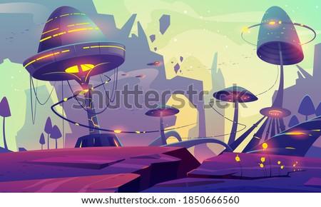 alien planet landscape with