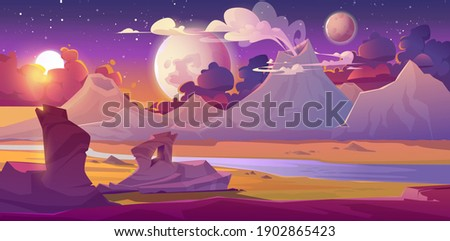 Alien planet landscape with volcano, river, stars and moons in sky. Vector fantasy illustration of planet surface with desert, mountains, smoke clouds from craters. Futuristic background for gui game