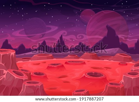 Alien planet vector landscape, red Mars land surface with craters and Saturn or Jupiter in purple starry sky. Fantasy nature background, martian extraterrestrial computer game scene, cartoon backdrop