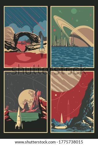 alien planets landscape set