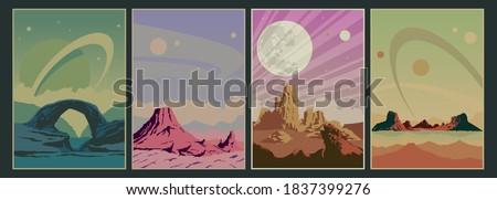 Alien Planets Surfaces, Extraterrestrial Landscapes, Outdoors Illustration Set