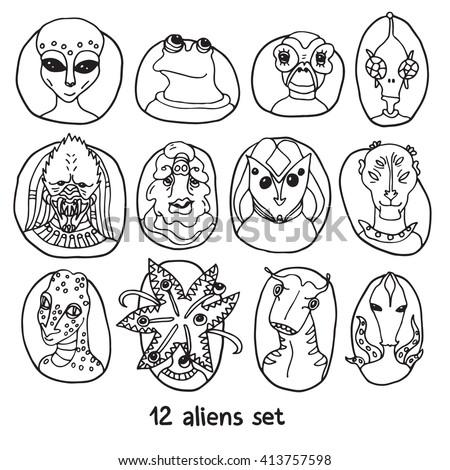 alien portraits black and white