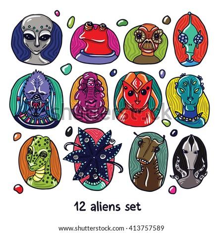 alien portraits colorful set