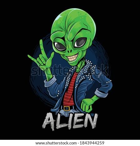 alien rocker wearing spiked jacket Stock photo ©