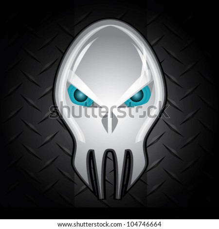 alien skull head crystal vector