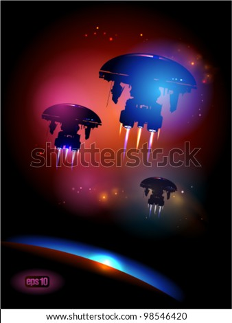 Alien Spacecrafts leaving Earth. Eps 10.