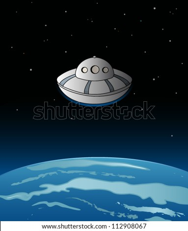 alien spaceship over the earth