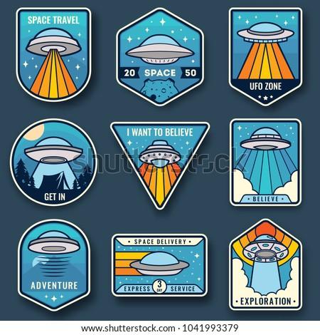 Alien spaceship, spacecrafts and ufo emblems set. Cosmic ship in form saucer for transportation. Color UFO badges set