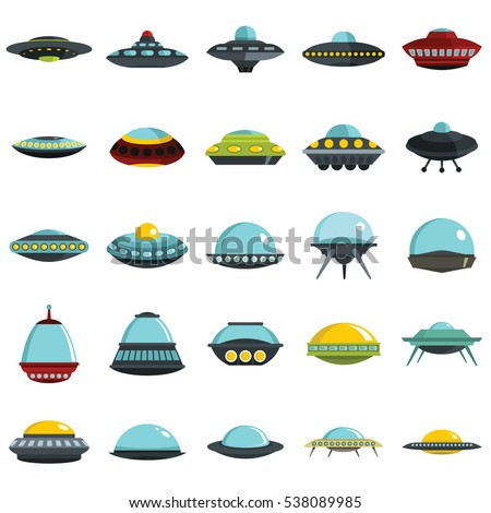 Alien spaceship, spacecrafts and ufo vector set in cartoon style. Cosmic ship in form saucer for transportation,  illustration for space design