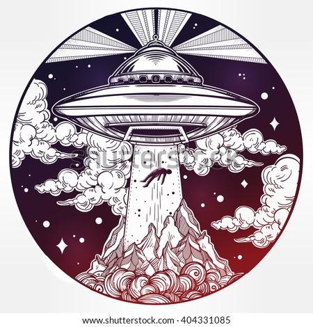 alien spaceship ufo background