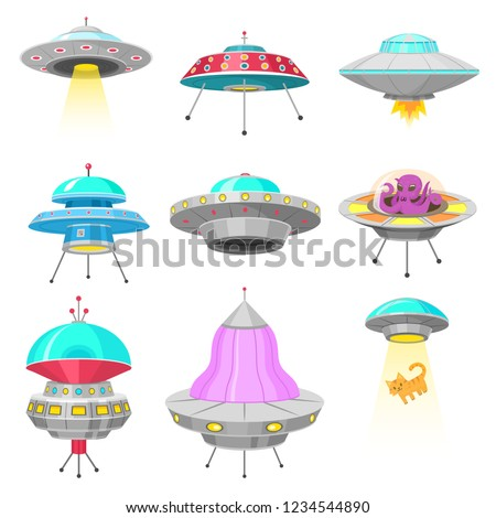 Alien spaceships, set of UFO unidentified flying object, Fantastic rockets, Cosmic spacecrafts in universe space. vector Illustration on white background. GUI elements. Flat game, Cartoon style.