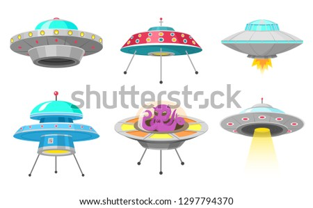 Alien spaceships, Set of UFO unidentified flying object, Fantastic rockets, Cosmic spacecrafts in universe space. Vector Illustration on white background. GUI elements, Cartoon style, Flat game.
