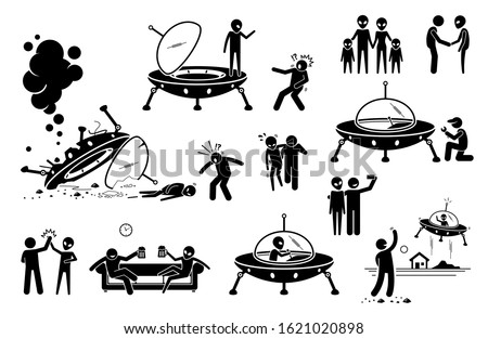 Alien UFO and human first contact and become friend. Vector illustration of alien UFO arrive to planet Earth and crashing the spaceship. Man rescue alien and they become friends. Alien fly back.