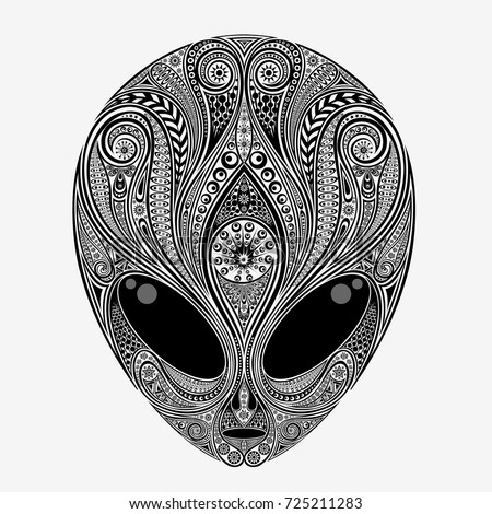 Alien. Vector head of an alien creature from a variety of patterns