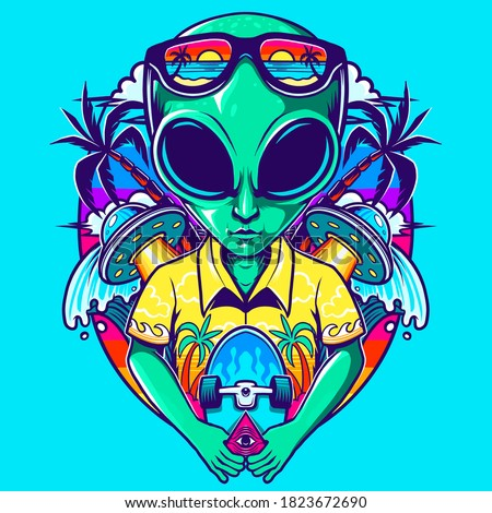 alien with skate in the beach vector Stock photo ©