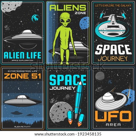 Alien zone, UFO space journey retro posters. Extraterrestrial civilization life spacecrafts, alien green humanoid with big eyes and flying saucer in outer space vector. UFO activity area banner