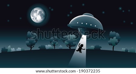 aliens abduct a human at night