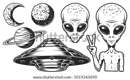 aliens and ufo set of vector