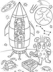 Aliens coloring book. Space background. Universe illustration. Shuttle coloring page. Space ship and planets sketch. Cosmos coloring page
