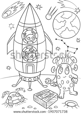 Aliens coloring page. Space background. Universe illustration. Shuttle coloring page. Space ship and planets sketch. Cosmos coloring page