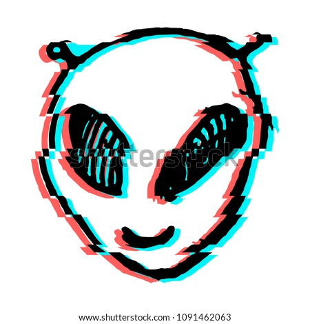 aliens face drawing with tv