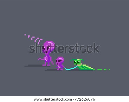 Aliens Family Pixel Art Style Adult Child And Their Pet Vector Illustration