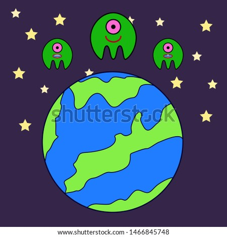 aliens in space above a planet
