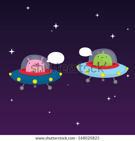 Aliens in space vector illustration