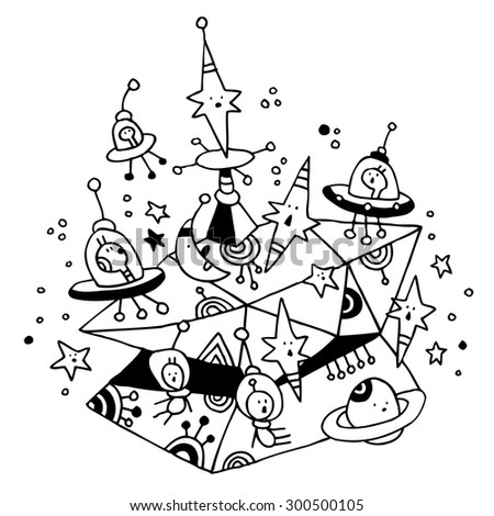 aliens spaceships stars planets cosmos space cartoon illustration