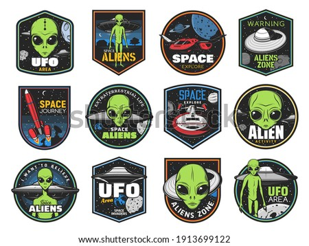 Aliens, ufo area and space shuttles vector retro icons. Extraterrestrial comer with green skin and huge eyes. Space exploration labels with spaceship in outer cosmos, saucers in starry sky, alien zone