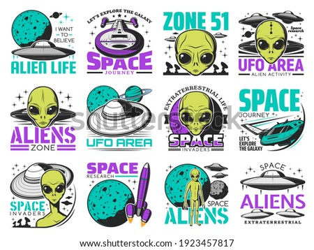 Aliens, ufo area and space shuttles vector retro icons. Extraterrestrial comer with green skin and huge eyes. Space exploration labels with spaceship in cosmos, saucers in sky, alien zone emblems set