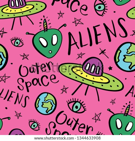 Aliens, ufos, spaceships seamless pattern repeating texture background / Vector illustration design for textile graphics, fashion fabrics, prints, wallpapers etc