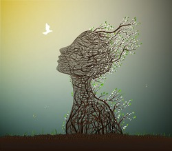 alive tree and pigeon spring meeting, tree looks like a woman's head with spring white flowers stretching her face to the sun, surrealism, plant alive idea, vector