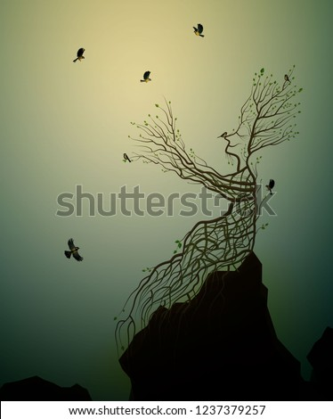 alive tree on the rock and