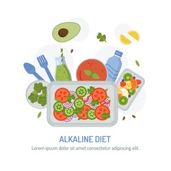 Alkaline diet emblem. Meal planning menu for the day. The food in the containers with text area. Flat design. Vector illustration.
