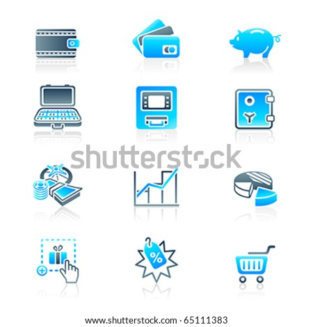 All about earning, saving and spending money icon-set