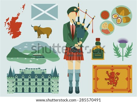 All about Scotland elements. National map,food,tourist attractions,castle,flower and etc.
